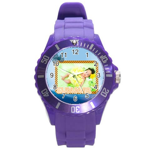 Summer By Summer Time    Round Plastic Sport Watch (l)   2edpsmlxvtn8   Www Artscow Com Front