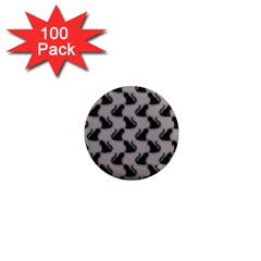 Black Cats On Gray 1  Mini Button Magnet (100 Pack) by bloomingvinedesign