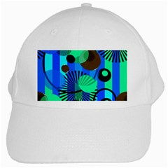 Blue Green Stripes Dots White Baseball Cap by bloomingvinedesign