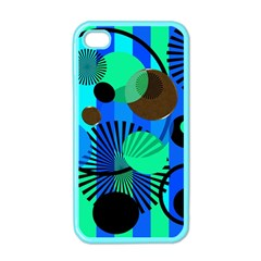 Blue Green Stripes Dots Apple Iphone 4 Case (color) by bloomingvinedesign