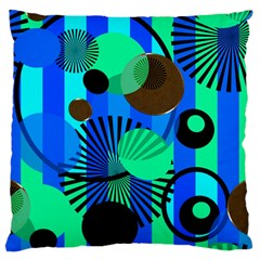 Blue Green Stripes Dots Large Cushion Case (Two Sided)