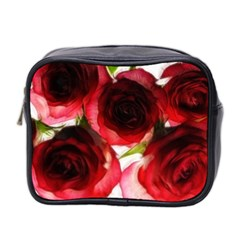 Pink And Red Roses On White Mini Travel Toiletry Bag (two Sides) by bloomingvinedesign