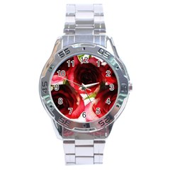 Pink And Red Roses On White Stainless Steel Watch by bloomingvinedesign