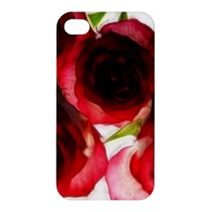 Pink And Red Roses On White Apple Iphone 4/4s Premium Hardshell Case by bloomingvinedesign