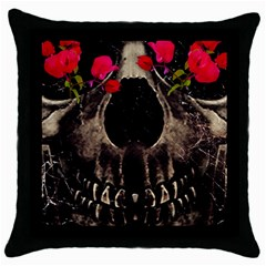 Death And Flowers Black Throw Pillow Case by dflcprints