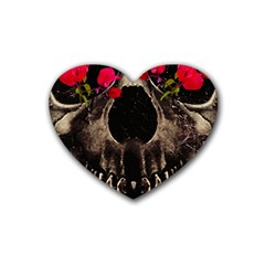 Death And Flowers Drink Coasters (heart) by dflcprints