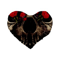 Death And Flowers 16  Premium Heart Shape Cushion  by dflcprints