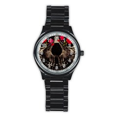 Death And Flowers Sport Metal Watch (black) by dflcprints
