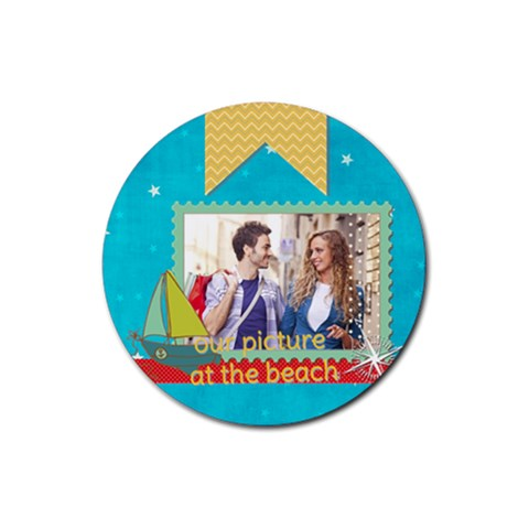 Summer By Summer Time    Rubber Round Coaster (4 Pack)   Dm3jv8sm23ok   Www Artscow Com Front