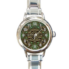 Japanese Garden Round Italian Charm Watch by dflcprints