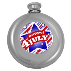 4th of July Celebration Design Hip Flask (Round) by dflcprints