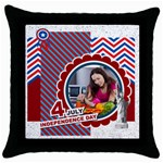 usa 4 july - Throw Pillow Case (Black)