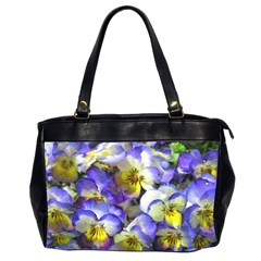 Painted Pansies Oversize Office Handbag (two Sides) by CrackedRadish