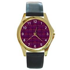 Funky Retro Pattern Round Leather Watch (gold Rim)  by SaraThePixelPixie