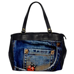 Blue Jean Lady Bug Oversize Office Handbag (one Side) by TheWowFactor