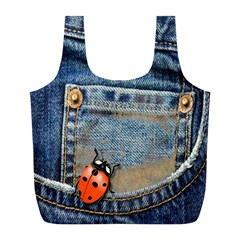Blue Jean Lady Bug Reusable Bag (L) by TheWowFactor