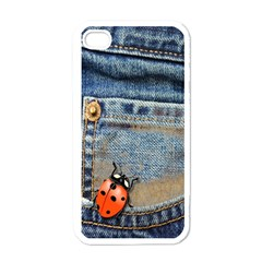 Blue Jean Butterfly Apple Iphone 4 Case (white) by AlteredStates