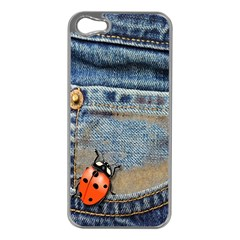 Blue Jean Butterfly Apple Iphone 5 Case (silver) by AlteredStates