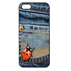 Blue Jean Butterfly Apple Iphone 5 Seamless Case (black) by AlteredStates