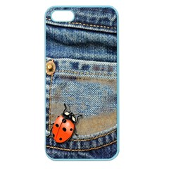 Blue Jean Butterfly Apple Seamless Iphone 5 Case (color) by AlteredStates