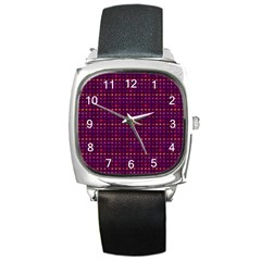 Funky Retro Pattern Square Leather Watch by SaraThePixelPixie