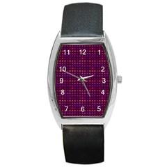 Funky Retro Pattern Tonneau Leather Watch by SaraThePixelPixie
