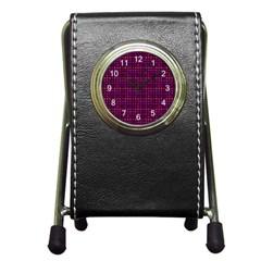 Funky Retro Pattern Stationery Holder Clock by SaraThePixelPixie