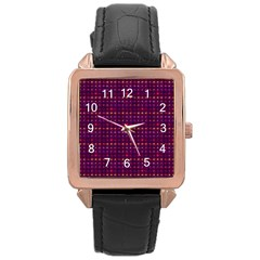 Funky Retro Pattern Rose Gold Leather Watch  by SaraThePixelPixie