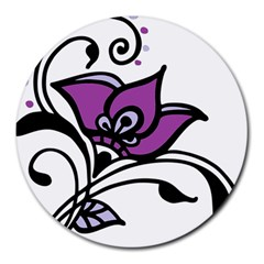 Awareness Flower 8  Mouse Pad (round) by FunWithFibro
