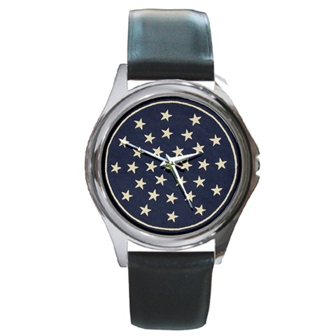 Navy Stars By Susan   Round Metal Watch   4y38scud6ei2   Www Artscow Com Front