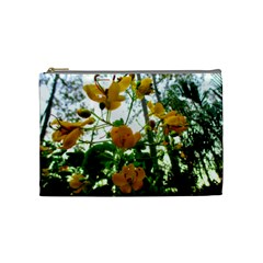 Yellow Flowers Cosmetic Bag (Medium) by SaraThePixelPixie