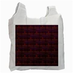 Funky Retro Pattern White Reusable Bag (one Side) by SaraThePixelPixie