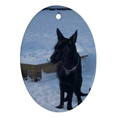 Snowy Gsd Oval Ornament by StuffOrSomething