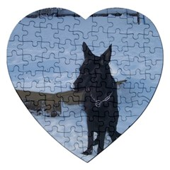 Snowy Gsd Jigsaw Puzzle (heart) by StuffOrSomething