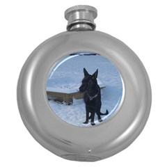 Snowy Gsd Hip Flask (round) by StuffOrSomething