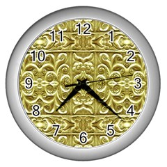 Gold Plated Ornament Wall Clock (silver)