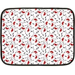 Delicate Red Flower Pattern Mini Fleece Blanket (two Sided) by CreaturesStore