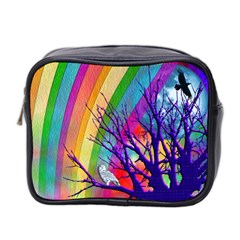 Rainbow Moon Mini Travel Toiletry Bag (Two Sides) by SaraThePixelPixie