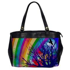 Rainbow Moon Oversize Office Handbag (One Side) by SaraThePixelPixie
