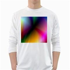 Prism Rainbow Men s Long Sleeve T Shirt (white) by StuffOrSomething