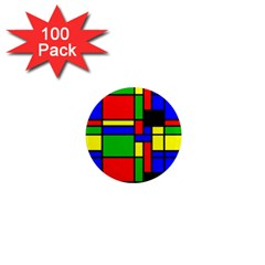 Mondrian 1  Mini Button Magnet (100 Pack) by Siebenhuehner
