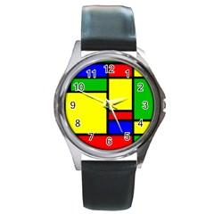 Mondrian Round Leather Watch (silver Rim) by Siebenhuehner