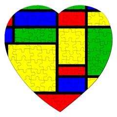 Mondrian Jigsaw Puzzle (heart) by Siebenhuehner