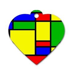 Mondrian Dog Tag Heart (two Sided) by Siebenhuehner