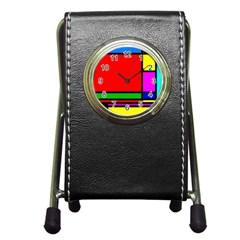 Mondrian Stationery Holder Clock by Siebenhuehner