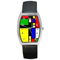 Abstrakt Tonneau Leather Watch by Siebenhuehner
