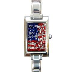 American Flag Blocks Rectangular Italian Charm Watch by bloomingvinedesign
