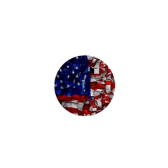 American Flag Blocks 1  Mini Button by bloomingvinedesign