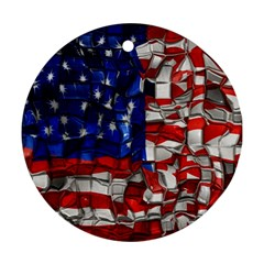 American Flag Blocks Round Ornament by bloomingvinedesign