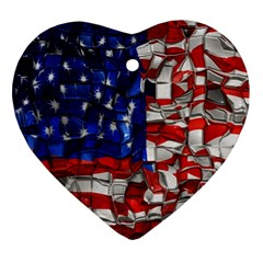 American Flag Blocks Heart Ornament by bloomingvinedesign